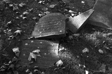 oude begraafplaats in zwartwit - 10